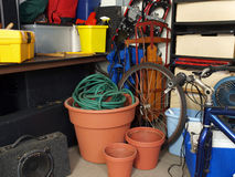 Garage Junk. Cluttered corner of a busy suburban garage Stock Images