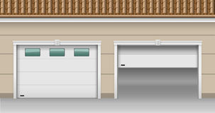 Garage Lifting Gates. Modern garage gates for the house. Open and closed. Vector graphics stock illustration