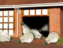 Garage and lightbulbs Royalty Free Stock Photos