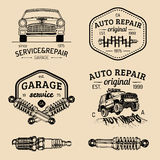 Garage logos set. Car repair emblems collection. Vector vintage sketched auto service signs for advertising posters etc. Stock Photo