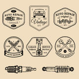 Garage logos set. Car repair emblems collection. Vector vintage sketched auto service signs for advertising posters etc. Stock Photos