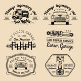 Garage logos set. Car repair emblems collection. Vector vintage sketched auto service signs for advertising posters etc. Stock Images