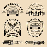Garage logos set. Car repair emblems collection. Vector vintage sketched auto service signs for advertising posters etc. Stock Photography