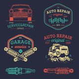 Garage logos set. Car repair emblems collection. Vector vintage sketched auto service signs for advertising posters etc. Stock Image