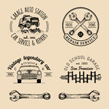 Garage logos set. Car repair emblems collection. Vector vintage sketched auto service signs for advertising posters etc. Royalty Free Stock Photography