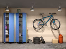 garage with many things and bicycle, Stock Photos
