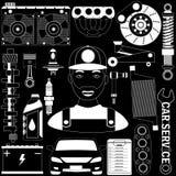 Garage and mechanic on blackboard Stock Images