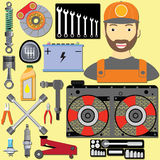 Garage and mechanic cartoon Royalty Free Stock Images