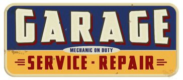 Garage Mechanic On Duty Sign Stock Images