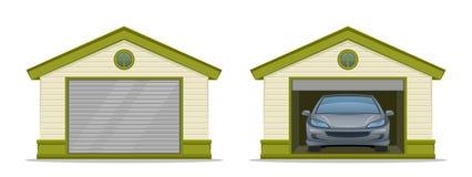 Garage med bilen stock illustrationer