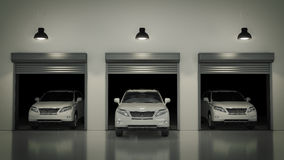 Garage med den öppnade rulldörren framförande 3d Royaltyfria Bilder
