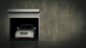 Garage med den öppnade rulldörren framförande 3d Royaltyfri Bild