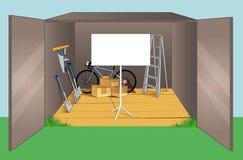 Garage med olika gammala objekt Fotografering för Bildbyråer
