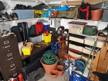 Garage Mess. Big mess in an over stuffed suburban garage Stock Photos