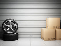 Garage mit Ersatzteilen des Autos lizenzfreie abbildung