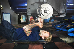 Garage Motor Maintenance Mechanic Fixing Spare Concept Royalty Free Stock Photography