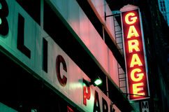 Garage Neon Sign. Neon Parking Garage Sign, New York City Royalty Free Stock Images