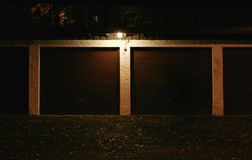 Garage at Night. A garage view in the city at night Stock Images