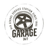 Garage old school service station label. Vintage tee design graphics,. Complete auto repair typography print. Custom t-shirt stamp, teeshirt graphic. For emblem Royalty Free Stock Image