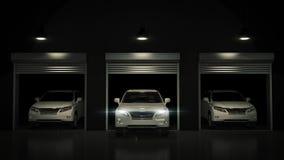 Garage with Opened Roller Door. 3D Rendering Stock Images