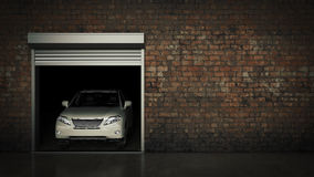 Garage with Opened Roller Door. 3D Rendering Stock Image