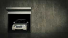 Garage with Opened Roller Door. 3D Rendering Royalty Free Stock Image