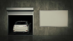 Garage with Opened Roller Door. 3D Rendering Stock Photography