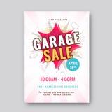 Garage ou affiche ou banne imprimable d'annonce d'événement de vente de bric-à-brac illustration stock