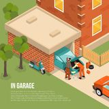 Garage Outside Isometric Illustration Royalty Free Stock Photo