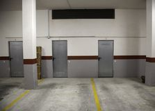 Garage in parking. Garage in private parking, construction and architecture royalty free stock photography