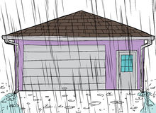 Garage with Rain and Spouts Royalty Free Stock Photos