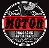 Garage repair service, print for t shirt in custom colors, grunge Stock Photos
