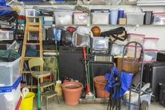 Garage riempito stoccaggio Fotografia Stock Libera da Diritti