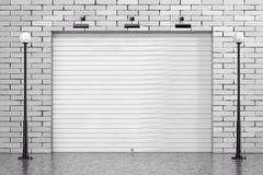 Garage Rolling Shutter Gate Door with Brick Wall and Street Lights. 3d Rendering. Garage Rolling Shutter Gate Door with Brick Wall and Street Lights extreme stock illustration