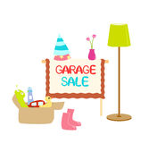 Garage Sale. Illustration of garage sale items with sign Stock Photo
