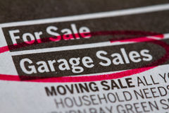 Garage sale. Ads in newspaper Royalty Free Stock Photo