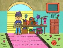 Garage sale. Illustration of a young man having a garage sale royalty free illustration