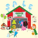 Garage Sale!. Garage Sale with signs and household items Royalty Free Stock Images