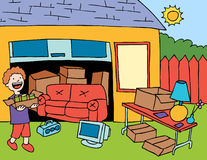Garage sale. Cartoon image of person getting ready for a garage sale stock illustration