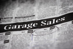 Garage Sale Ads (shallow depth of field) Stock Photos