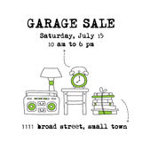 Garage sale banner. Garage sale, household used goods. Vector square banner template. For posters, cards, brochures and invitations, flyers and website designs vector illustration