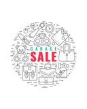 Garage sale concept 2. Vector line style illustration. Garage sale, yard sale flyer template. Design element for posters, banners, advertisings vector illustration