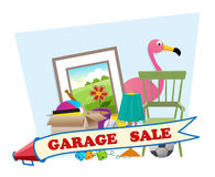Garage Sale. Cute garage sale banner with household items in the background. Eps10 stock illustration
