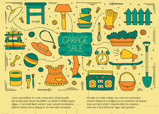 Garage sale elements. Garage sale, household used goods. Hand drawn line elements. Vector horizontal banner template. Doodle background. For banners and posters Royalty Free Stock Photos