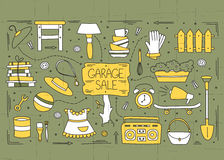 Garage sale elements. Garage sale, household used goods. Hand drawn line elements. Vector horizontal banner template. Doodle background. For banners and posters Stock Photography