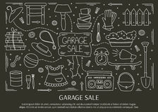 Garage sale elements. Garage sale, household used goods. Hand drawn line elements. Vector horizontal banner template. Doodle background. For banners and posters Royalty Free Stock Image