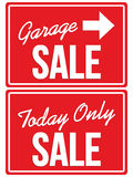 Garage sale en vandaag SLECHTS VERKOOPtekens Royalty-vrije Stock Afbeeldingen