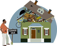 Garage sale. Enthusiastic black man putting a garage sale sign in front of a house, bursting with stuff, vector illustration, EPS 8 vector illustration