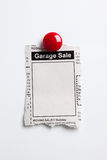 Garage Sale. Fake Classified Ad, newspaper, Garage Sale concept Royalty Free Stock Image