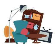 Garage sale furniture second hand goods selling. Old furniture garage sale second hand goods selling vector armchair with cushion and table TV set and wooden royalty free illustration